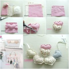 DIY Fabric Heart Pendant.........with small hearts u can decor ur house Very nice! For decoration.:)