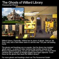 Willard Library is a quite well known haunted location in Evansville, Indiana. With several ghosts and a live stream webcam, it is little wonder oddities are captured from time to time. Head to this link for the full article: http://www.theparanormalguide.com/1/post/2012/12/the-ghosts-of-willard-library.html