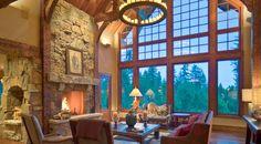 Seating around fireplace