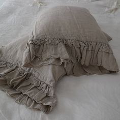 Linen  pillowcase with ruffles standard , queen , king , euro sham , body pillow size. Bed Pillows. Washed & softened. Made by mooshop