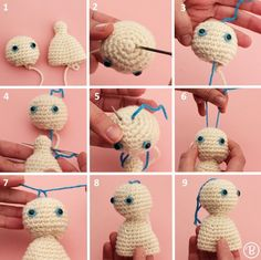 I learned this super cool technique with Beth Webber at By Hook, By Hand  and I used it in my Mini Me project and wanted to share it with you! Beth  has many more cool techniques on her blog that I want to try too, so check  her out!  1. You need a head that has the bottom portion opened and a torso or  body with a long neck at the top (5 rounds). In the example above the  opened portion of the head has 12 stitches and the neck has 8 stitches.  2. Thread a needle with a strong thread of the…
