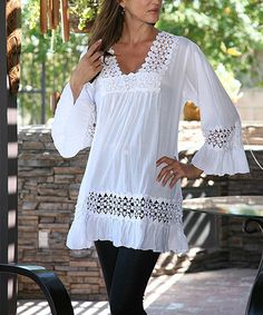 Another great find on #zulily! White Cutout Tunic #zulilyfinds