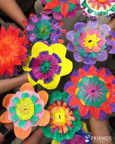 Hyper Colorful Painted Paper Plate Flowers Easy Kids Art