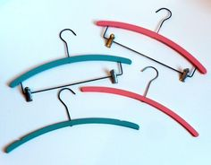 "16"" tip to tip    Set of 4 vintage Clothes Hangers Pink and Blue Wooden. $7.99, via Etsy."