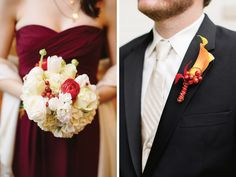 Gorgeous flowers for a maroon-colored wedding.
