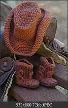 Cute crochet, cowboy hat and boots