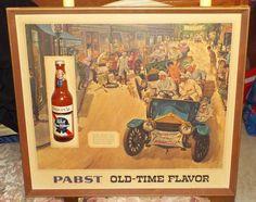 1960s PABST BLUE RIBBON BEER OLD TIME FLAVOR FRAMED SIGN Automobile Motif #368-P