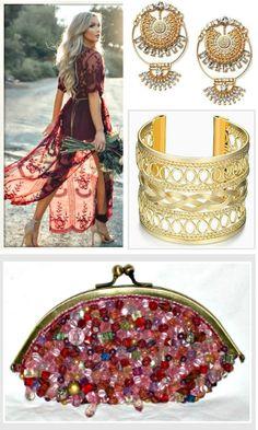 BOHEMIAN COWGIRL DRESS Burgundy Red Lace Sheer Boho Maxi Dress
