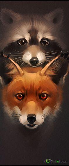 Fox and Racoon :: By Artist Alexandra Khitrova Raccoon Art, Racoon, Fox Art, Raccoon Tattoo, Cute Animal Drawings, Cute Drawings, Fuchs Tattoo, Fox Drawing, Wildlife Art