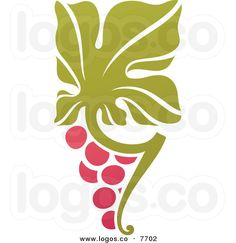 Royalty Free Vector of a Purple Grapes and Leaves Winery Logo
