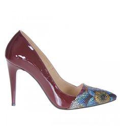 Pantofi Stiletto Piele Naturala Lacuita Marsala Imprimeu Floral - Cod S217 Marsala, Kitten Heels, Pumps, Floral, Shoes, Fashion, Moda, Zapatos, Shoes Outlet