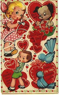 Vintage Sheet Four Valentines