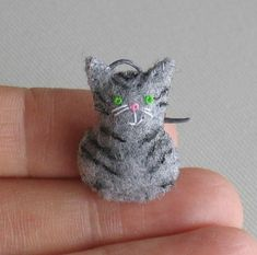 Gray felt tiger cat miniature plush by wishwithme on Etsy, $7.00