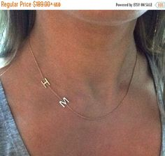14k solid gold double initial necklace two initial necklace sideways initial necklace by NOSTALGII on Etsy https://www.etsy.com/listing/220856641/14k-solid-gold-double-initial-necklace