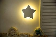 Star Wall Light Kids Room Wall Decor Nursery Decor Star Night | Etsy Cloud Night Light, Nursery Night Light, Water Based Acrylic Paint, Star Wall, Stars At Night, Nursery Wall Decor, Kids Room, Wall Lights, Glow