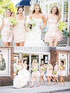 Switch this to boots in the stockyards. Blush bridesmaid dresses - Vintage Chic Vineyard Wedding - Lilian Haidar Photography.