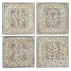 "Four-piece metal wall decor set with fleur-de-lis patterns.    Product: 4 Piece wall décor setConstruction Material: MetalColor: MultiFeatures: Fleur-de-lis designDimensions: 16"" H x 16"" W each"