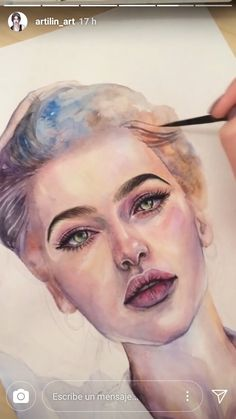 Discover recipes, home ideas, style inspiration and other ideas to try. Watercolor Artwork, Watercolor Portraits, Watercolor Ideas, Art Sketches, Art Drawings, Sketches Of Girls Faces, Illustrations, Illustration Art, Art Graphique