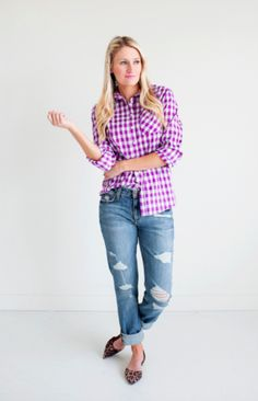 Gorgeous in Gingham Top- Purple. Are you as obsessed with gingham as we are? Get ready to receieve numerous compliments when wearing this shirt! Wear alone or as a layering piece. Comes in 4 fabulous eye-catching colors. Long sleeves.