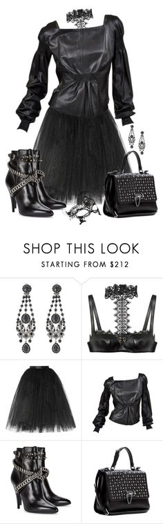 """""""Leather and Lace"""" by autumnwolf1965 ❤ liked on Polyvore featuring Givenchy, Alexander McQueen, Ballet Beautiful, Yves Saint Laurent, Dolce&Gabbana and Accessorize"""
