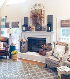 Farmhouse fall mantel and fireplace    Worthing Court