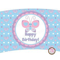 Printable cupcake wrapper for butterfly themed birthday party