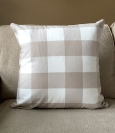 New to OldLakeGeorge on Etsy: Decorative pillow buffalo check large check pillow beige and white home decor home & living plaid fabric checkered (24.00 USD)