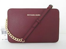 NWT New Michael Kors Jet Set Travel Merlot Large Saffiano Leather Crossbody Bag