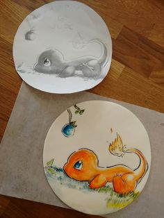 Hand painted charmander on fondant from The Mix Bake Shop.