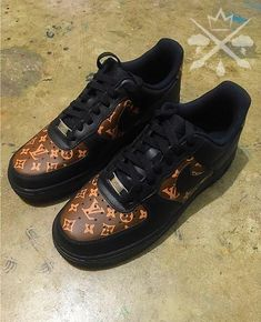 official photos 804f1 32c1a Nike Louis Vuitton LV Black Air Force 1 One Low Top Luxury Designer Custom  Men s Black Sneaker