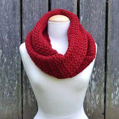 Handmade Crochet Infinity Scarf - Cranberry