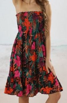 colorful Beach Fashion! Bohemian Strapless Floral Print Beach Cover-Up For Women #tropical #Strapless #Beach #CoverUp #Fashion