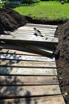 From dirt to a pallet wood walkway in the garden