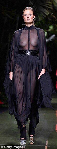 Kim Kardashian leaves NOTHING to the imagination at Balmain SS17 show during Paris Fashion Week | Daily Mail Online