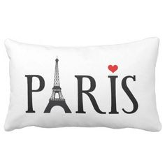 Paris with Eiffel tower and red heart Lumbar Pillow