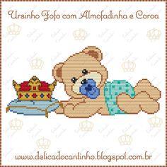 Delicado Cantinho: Gráficos Ponto Cruz Ursinhos + Almofadinha com Coroa