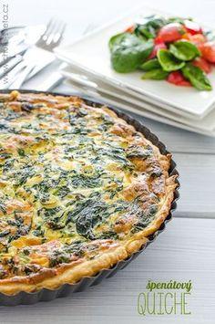Špenátový quiche Tart Recipes, Veggie Recipes, Vegetarian Recipes, Healthy Recipes, Cooking Light, Easy Cooking, Cooking Recipes, Pizza, Main Meals