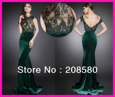 Coquettish Sexy Couture Green Lace Backless Transparent Velvet Long Evening Dresses Gowns Women E5305