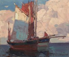 Shadows, French Tuna Boats By Edgar Payne . Truly Art Offers Giclee Unframed Prints on Paper, Canvas Art, and Framed Art in all our Collections. Manet, Dundee, Renoir, Tuna Boat, Edgar Payne, Oil On Canvas, Canvas Art, Religious Paintings, Boat Painting