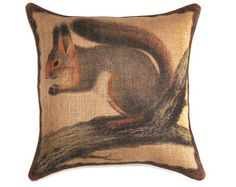 Deer Pillow Burlap Pillow Cushion Rustic by TheWatsonShop on Etsy