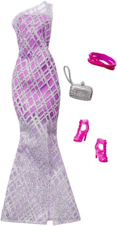 Barbie Complete Look Fashion Pack, Lavender Gown Barbie Chelsea Doll, Barbie Doll Set, Barbie Sets, Doll Clothes Barbie, Barbie Outfits, Lavender Gown, Look Fashion, Fashion Outfits, Accessoires Barbie