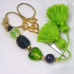 Lime Heart and Purple Beaded Scissor Fob by TJBdesigns on Etsy, $18.00