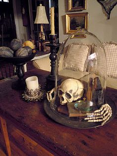 Glass cloche skull and books halloween decor