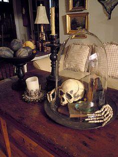 Glass cloche skull and books halloween decor