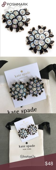 "Kate Spade Be Bold Statement Earrings From the ""Be Bold"" Collection - 14K Gold-plated drop earrings enhanced by striking sequence, acrylic stone, epoxy stone and glass stone.  Post back.  Color is Black. kate spade Jewelry Earrings"