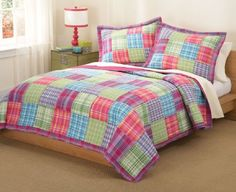 Kelsey Pink Plaid Girls Full / Queen Quilt Set with Two Shams | QS6016QN-2300
