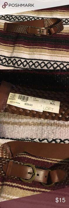 """❣️Ann Taylor Loft woven stretchy belt❣️ Never worn! Belt is about 2"""" wide with elastic back! Buckle loops through ring and back to buckle! Quality faux leather and gold detail! Questions and offers accepted! Ann Taylor Loft Accessories Belts"""