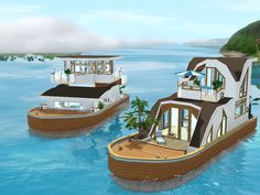 This is a set of 3 houseboats built for Island Paradise. Their small size make them them rather affordable for starters or almost starters. I hope you like them.  Found in TSR Category 'Sims 3 Set...