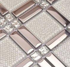 white glass mixed silver stainless steel mosaic and diamond for kitchen backsplash tile bathroom shower tile hallway border
