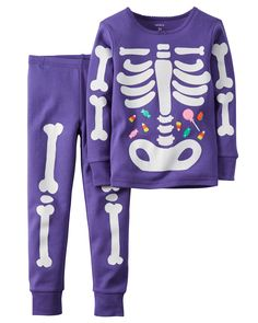 Baby Girl 2-Piece Snug Fit Cotton Glow-In-The-Dark Halloween PJs | Carters.com